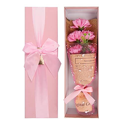 ZoneYan Artificiales Clavel, Decoraciones de Ramo de Imitación ,Ramo de Flores de Jabón, Jabón Artificial Clavel, Clavel Artificial, para Cumpleaños Aniversarios San Valentín Día de la Madre