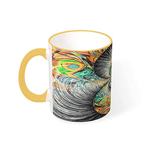 COMBON Shop Taza de café colorida taza tazas con mango porcelana estilo retro tazas -arte étnico vacaciones Navidad goldenrod 330ml