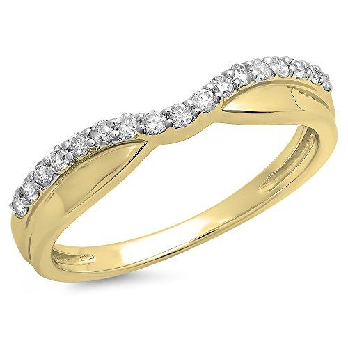 Dazzling Rock Collection - Alianza combinable con diamantes blancos de talla redonda, oro de 14 quilates (0,25 quilates)