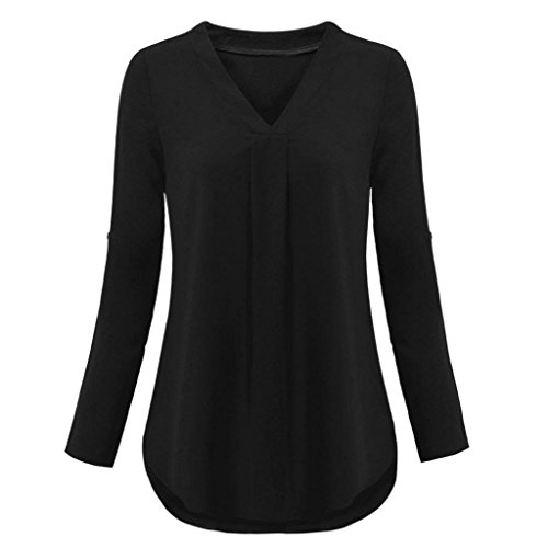 Top femmes Automne hiver Toamen Chemisiers à col V en couches T -shirt uni Décontractée Chemise à manches longues Roll-Up Haut (XL, noir)