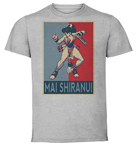 Instabuy T-Shirt Unisex - Grey Shirt - Propaganda - Pixel Art - Fatal Fury Real Bout - MAI Shiranui Size Large