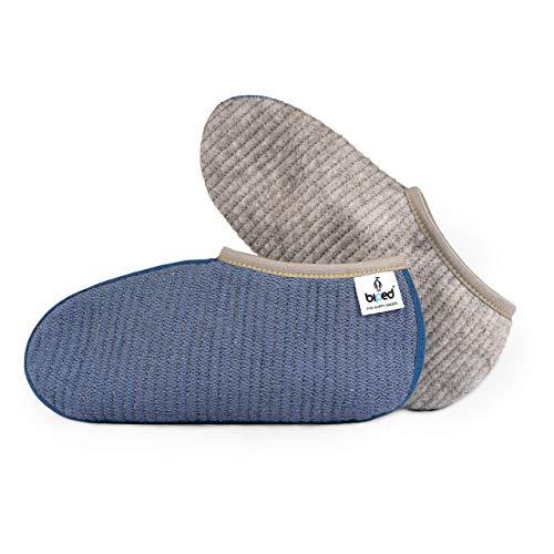 biped Stiefelsocken ROBBE - wärmende Gummistiefel Socken - strapazierfähig mit robustem Nahtband - dicke gesteppte Füßlinge als Hausschuh Ersatz - made in Germany - z2744(45-46)
