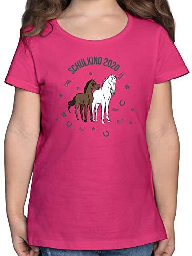 Einschulung und Schulanfang - Schulkind 2020 Pferde - 128 (7/8 Jahre) - Fuchsia - Tshirt schulanfänger mädchen - F131K - Mädchen Kinder T-Shirt