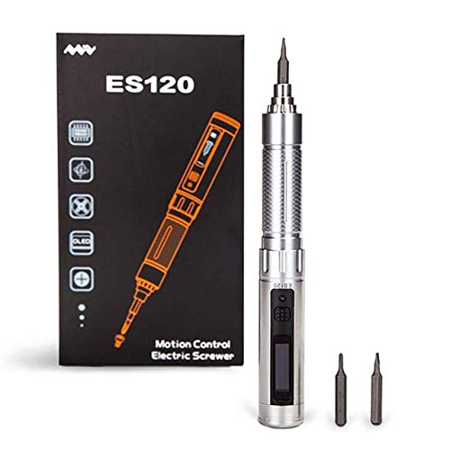 Screwdriver ES120/ES121 Mini Precision Cordless Electric Power Screwdriver Smart Gyro PH00 SL2 4mm Hex Screw Bit With Protective Pouch - (Color: Silver)