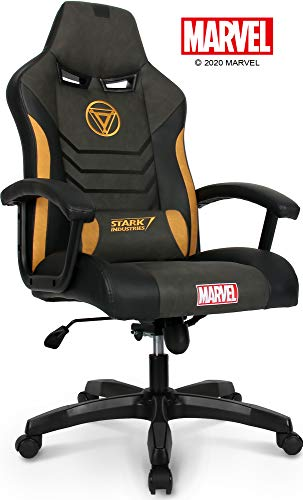 Marvel Avengers Iron Man Big & Wide Heavy Duty 330 lbs Gaming Chair Office Chair Computer Racing Desk Chair Black Gold - Endgame & Infinity War Series, Marvel Legends