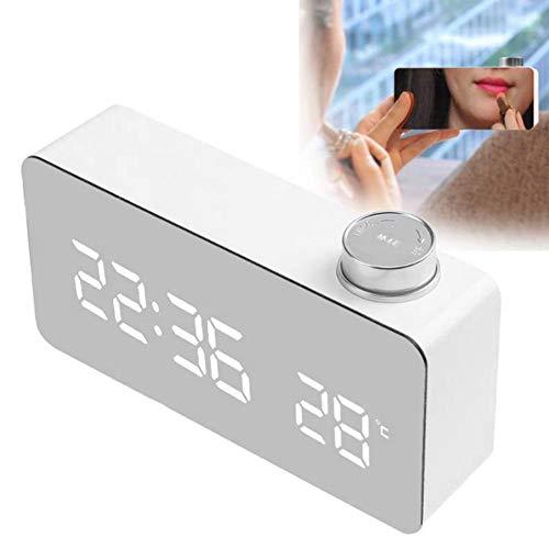 Junluck Relógio de mesa moderno, relógio de LED luminoso, cabeceira retangular para sala de estar e quarto (luz branca)