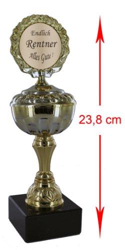 Pokal / Geschenk Endlich Rentner - Alles Gute 23,8 cm