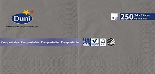 Duni 168402 3 plis Serviettes en papier, 24 cm x 24 cm, granite Gris (lot de 2000)