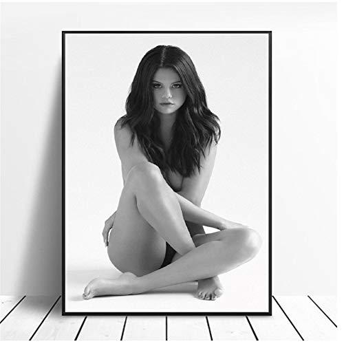A&D Selena Gomez Sexiest Foto Schwarz Weiß Kunst Poster Druck Wandbilder Für Raumdekor 50x70 cm Holz Innenrahmen