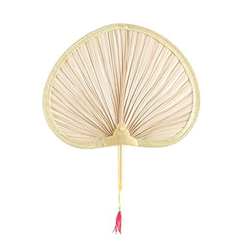 primrosely Abanico natural hecho a mano con forma de corazón, bambú hilado, hoja completa, perfecto para el verano, excelente artesanía, 1 unidad.