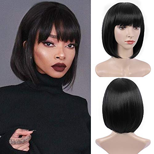 E-FOREST Black Wig Short Bob Wigs with Bangs for Women Straight Hair Wig Synthetic Party Wigs 12 Inch Cute Colorful Wigs, Black Wigs