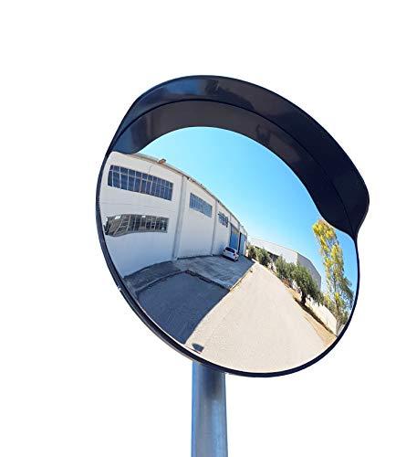 SNS SAFETY LTD Espejo de seguridad, convexo, de color negro, de 60 cm de diámetro, para garantizar la seguridad en calles y en tiendas, con soporte de fijación ajustable para poste de 60 mm