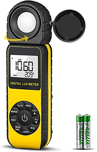 Light Meter 881D Digital Illuminance Meter Ambient Temperature Measurer with Range up to 400,000 Lux Luxmeter,Rotatable Head for 270 Degrees,Display 3999 Data Hold,Back Light,Max/Min Hold,Data storag