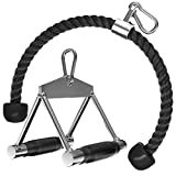 ACBEE Solid Steel Row Rubber Handles, Heavy Duty 35 Inch Tricep Rope Pull Down Attachment with Durable Hooks, Great for Home Gym Cable Weight Machine Pulldown System (Steel Rubber Grip + Tricep Rope)