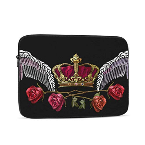 Protective MacBook Pro Case Embroidered Golden Crown and Rose Air Case Multi-Color & Size Choices 10/12/13/15/17 Inch Computer Tablet Briefcase Carrying Bag