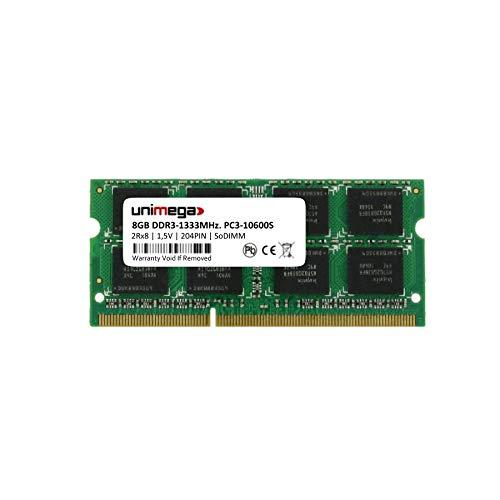 unimega 8GB (1x 8GB) DDR3 1333MHz PC3-10600S 204PIN 1,5V SoDIMM Memoria Laptop Notebook RAM Memory