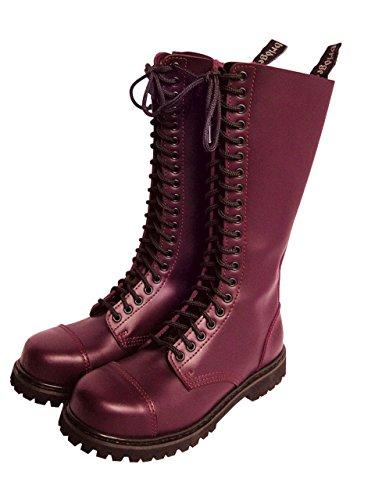Knightsbridge 20 Loch Gothic Stiefel mit Stahlkappe Kampfstiefel Schuhe Bordeaux (41/UK7)