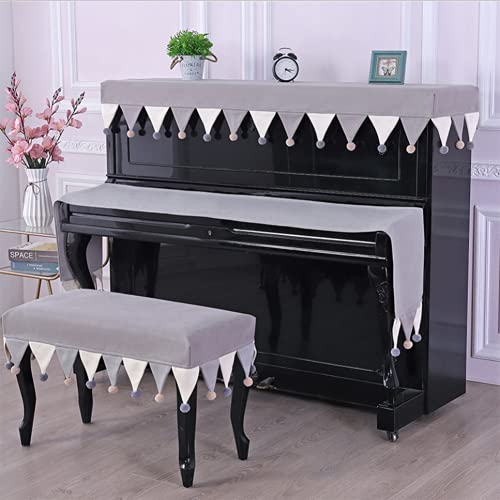 Piano Cover Upright Set Electronic Piano Keyboard Cover Chair Cover Piano Hanging Fashionable Luxury Thick Dustproof Protective Cover (Piano key towel 180 30cm,Beige)