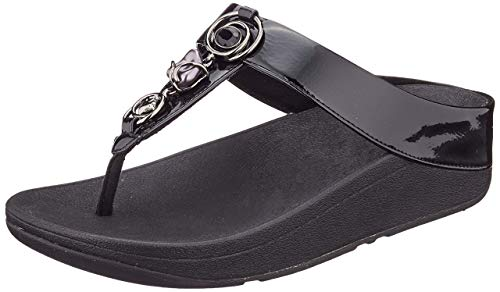 Fitflop Fino Embellished Toe-Thongs, Sandale Plate Femme, Tout Noir, 38 EU