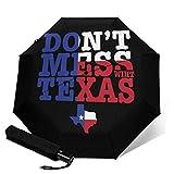 Sombrilla con texto 'Don't Mess with TexasAutomatic Tri-Fold Paragüero parasol