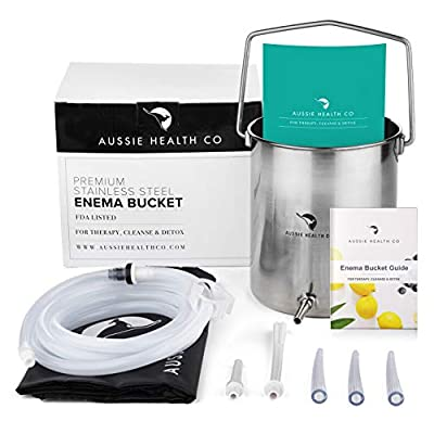 Aussie Health Co Enema Kit - Non-Toxic Stainless Steel 2 Quart Bucket - Ideal for Home Coffee or Water Colon Cleansing Detox Enemas - Includes Nozzle Tips, Guide Book, and Discrete Storage Bag from Aussie Health Co