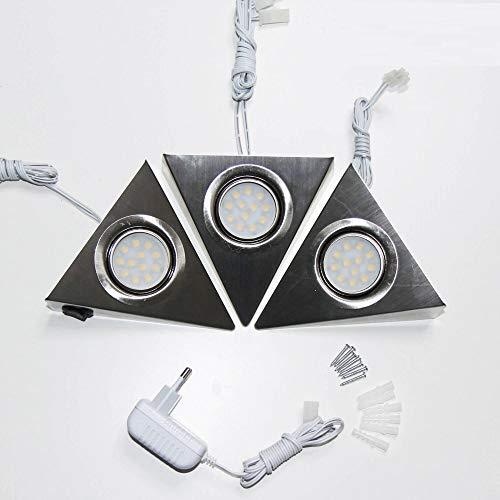 3er SET LED Unterbauleuchten mit Schalter für Küche Schrank 4000K (neutralweiß) – Dreieck-Design aus Edelstahl – Küchenleuchte Küchenlampe Schrankleuchte Dreieckleuchte
