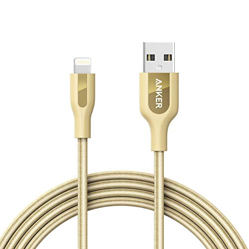Anker Powerline+ Lightning Cable (6ft) Durable and Fast Charging Cable [Double Braided Nylon] for iPhone Xs/XS Max/XR/X/8/8 Plus/7/7 Plus/6/6 Plus/5s/iPad and More (Golden) (Renewed)