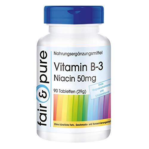 Vitamina B3 50mg - Niacina en forma de Nicotinamida no ruborizante - Vegana - Alta pureza y sin aditivos - 90 Comprimidos