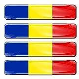 Biomar Labs® 4 x Aufkleber 3D Gel Silikon Stickers Rumänien Romania Rumänische Flagge Fahne Flag Autoaufkleber F 18