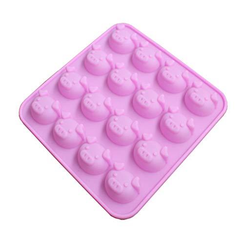 DAKERTA Kuchenform – 16 Löcher Schweinekopf Silikon Backmatte Eiswürfelform, Pralinenformen für Eiswürfel, Schokolade, Süßigkeiten