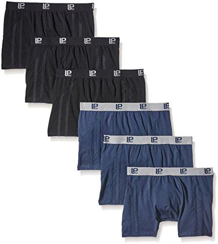 Lower East 6er Pack Herren Retro Boxershorts in verschiedenen Uni-Farben, Gr. X-Large, Mehrfarbig (Navy/Schwarz)