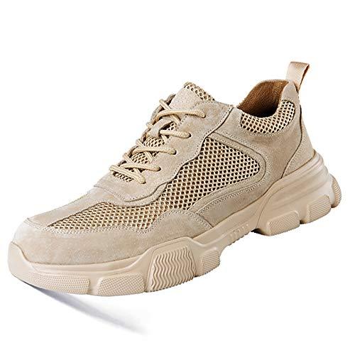 Leichte Sicherheitsschuhe für Männer und Frauen Atmungsaktive Arbeitsschuhe mit Zehenkappe Industrial Sneakers,Beige,38EU