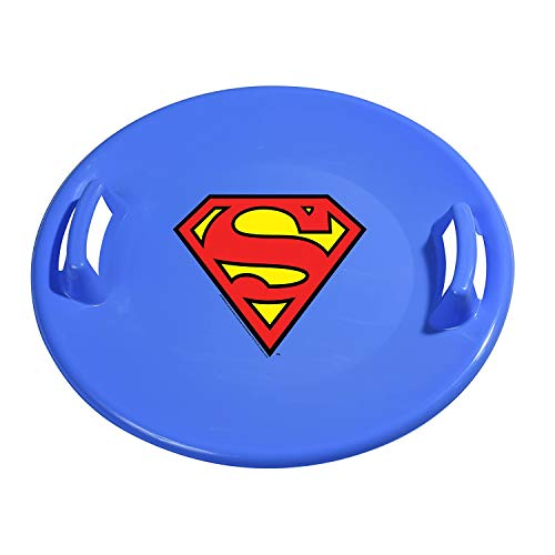 Slippery Racer Downhill Pro Heavy-Duty Cold Resistant Superman Adults and Kids Plastic Saucer Disc Snow Sled with Handles, Blue