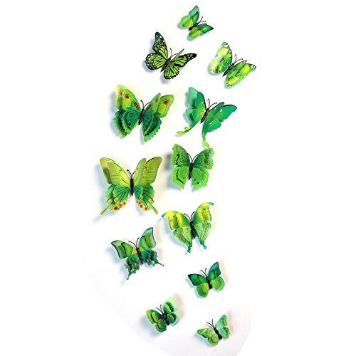 ZZSXC 3D Simulatie Vlinder Muursticker Woonkamer Slaapkamer Tv Achtergrond Wanddecoratie Kast Koelkast Tegel Stickers Gemengde Kleur Dubbele Laag Stereo Vlinder 12 Groen