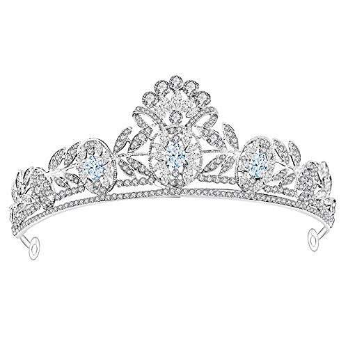 Zsaixmaog Prinses Kroon Hoofdtooi Strass Kroon Voor Vrouwen Meisje Bruiloft Prom Pagina's Prinses Partijen Verjaardag Bruids Tiara(Lever) Bruiloft Kroon Bruid Prinses Tiara Bruids Haar Acc