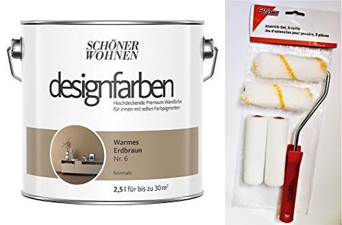 Schöner Wohnen designfarben feinmatte Wandfarbe für innen 2,5 Liter mit go/on Rollen-Set 5-tlg (Nr 6 Warmes Erdbraun)