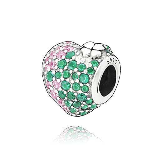 Pandora 925 colgante de plata esterlina Diy Trébol Real cuentas de abalorio de corazón que se ajustan a pulseras originales joyería de mujer
