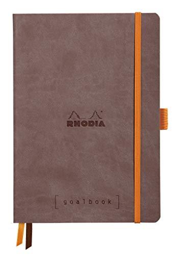 Rhodia 117743C Notizheft Goalbook (DIN A5, 14,8 x 21 cm, Dot, praktisch und trendige, mit weichem Deckel, 90g, elfenbeinfarbigem Papier, 120 Blatt, Gummizug, Lesezeichen) 1 Stück, schokoladen, Braun