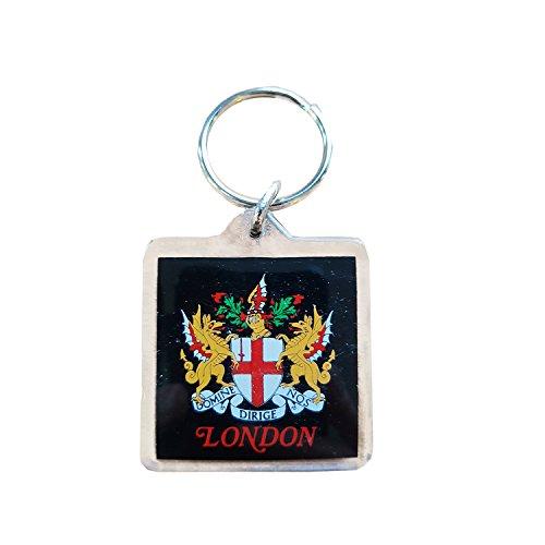 Schlüsselanhänger mit Londoner Stadt, Wappen, England, Schlüsselanhänger, Souvenir, quadratisch, aus Kunststoff.