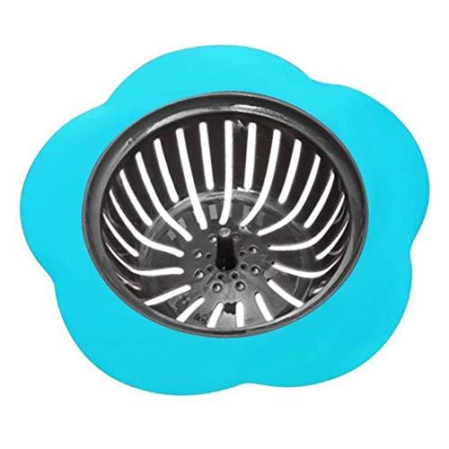 Lasisz Siliconen wasbakzeef, zeef, zeef, bloem, gevormd, douchebak, afvoer, wasbak, zeef, kanalisatie, haarfilter, keuken accessoires, blauw