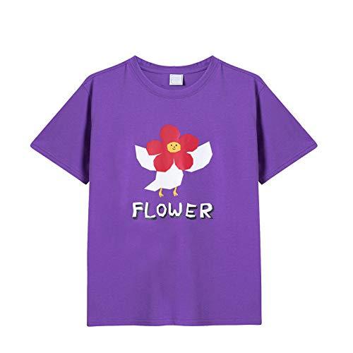 NOBRAND Huaxiaoren Series - Camiseta de manga corta para mujer (cuello redondo) Morado violeta L