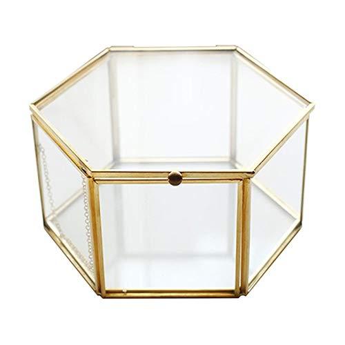 Geschenkbox Sechsseitige transparente Schmucksachen Kupferstreifen Goldene Glas Blumenraum Ewiger Blumenkasten Ehe Ring Halskette Geschenkbox (Color : 1)