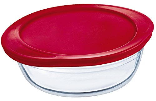 Arcuisine Round Bakeware and Storage Dish with Red Lid, Borosilicate Glass (10-Inch 78oz.)