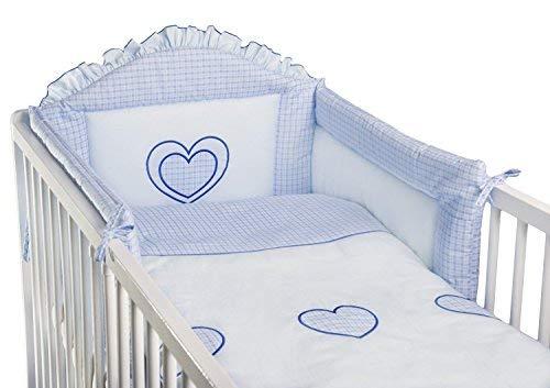 Ensemble de lit pour berceau ou lit de bébé, 3 pièces, Brodé, Motif cœurs