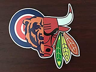 "Chicago Guy Sports Teams Cubs Blackhawks Bulls Bears Mash Up Window Laptop Truck Bumper Car Vinyl Sticker Decal"" Buy 3 get 1 Free!"""