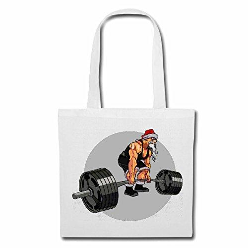 Tasche Umhängetasche HANTELSTANGE LANGHANTEL Bodybuilding Gym KRAFTTRAINING FITNESSSTUDIO Muskelaufbau NAHRUNGSERGÄNZUNG Gewichtheben Bodybuilder Einkaufstasche Schulbeutel Turnbeutel in Weiß