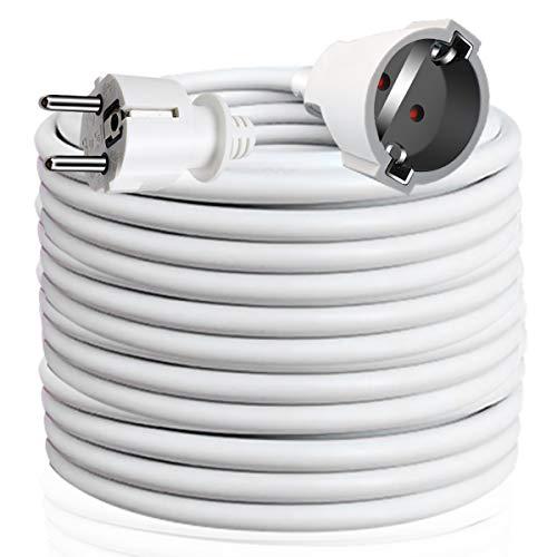 EXTRASTAR Cable Extensible con PROTECCIÓN, Cable Extensible electrico 15 Metros 230V / 16A / máx. 3680W Blanco