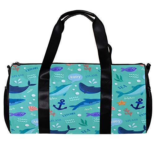 Bolsa de deporte redonda con correa de hombro desmontable para animales de mar Dolhpin tiburón peces ancla bolsa de entrenamiento para mujeres y hombres