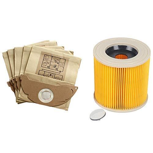 1 unids polvo Hepa filtros+5 unids bolsas de papel para Karcher Partes cartucho Hepa filtro Wd2250 Wd3.200 Mv2 Mv3 Wd3 aspirador