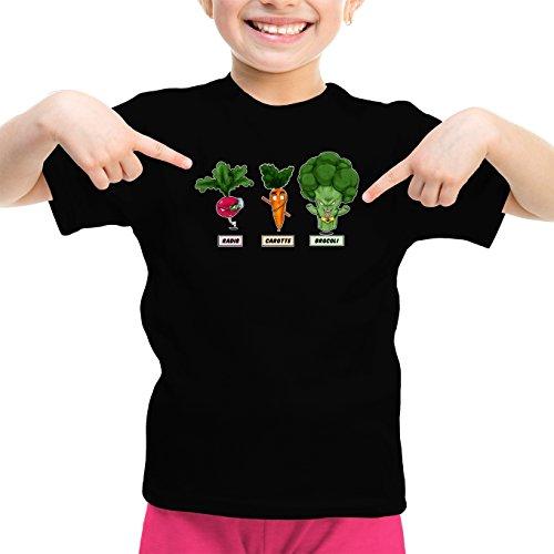 Okiwoki T-Shirt Enfant Fille Noir Dragon Ball Z - DBZ parodique Sangoku, Broly et Raditz : Super Héros de la Planète Végétale (Parodie Dragon Ball Z - DBZ)